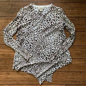 White Brown Cheetah Leopard Print Open Cardigan